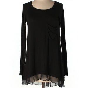 Bordeaux Black Long Sleeve Tunic Top